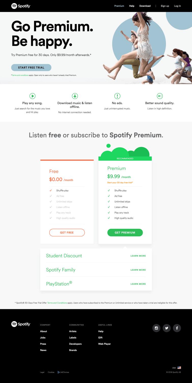spotify landing page
